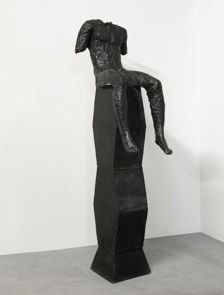 Magdalena Abakanowicz, 'Sitting Figure on a Tall Base', 2001