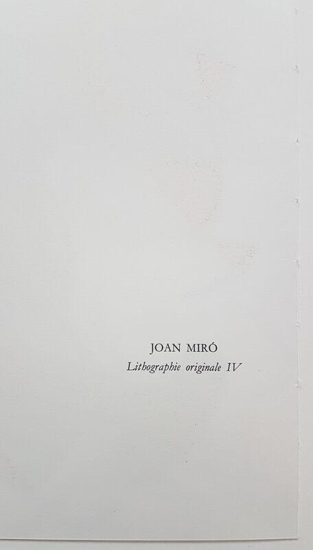 Joan Miró, 'Lithographie Originale IV', 1977, Print, Color Lithograph, Cerbera Gallery