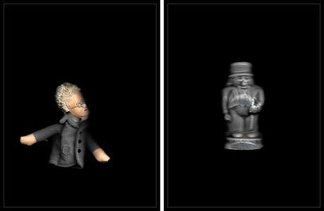 "Bruce Eves, '05 ""WORK # 1029-02: LEON TROTSKY FINGER PUPPET /  RED ROSE TEA ROBBER BARON""  (diptych)', 2020"