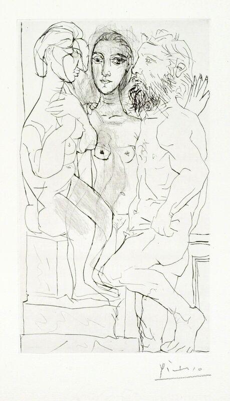 "Pablo Picasso, 'Sculpteur, Modele et Sculpture: Femme Assise', 1933, Print, Original drypoint printed in black ink on Montval laid paper bearing the ""Vollard"" watermark., Christopher-Clark Fine Art"