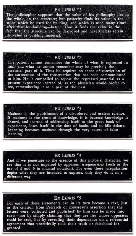 Joseph Kosuth, 'Ex Libris Series', 1989, Sculpture, The complete set of five cast bronze plaques., Phillips