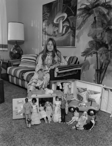 Bill Owens, 'This is Valerie's world in Miniature. She makes it what she wants it to be...without war, racial hate or misunderstanding. Ken and Barbie (dolls) are man and woman rather than Mom and Dad. They enjoy living and having a camper truck is the good life. Today Valerie has the chicken pox and can't go out and play.', 1972