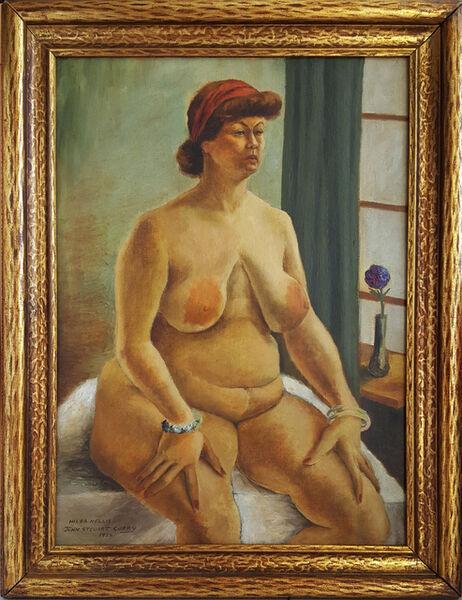 "John Steuart Curry, '""Hilda Nellis"", seated nude woman. Regionalism', 1934"