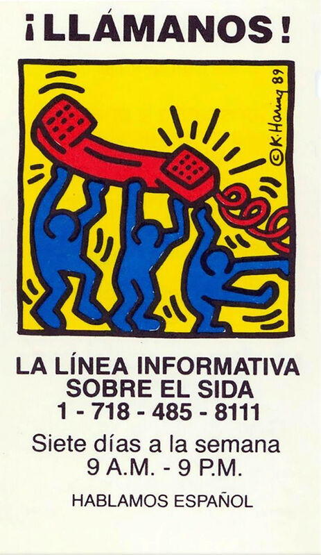Keith Haring, 'Keith Haring Talk To Us! 1989 (Keith Haring Aids hotline) ', 1989, Ephemera or Merchandise, Offset printed business card with color ink, Lot 180