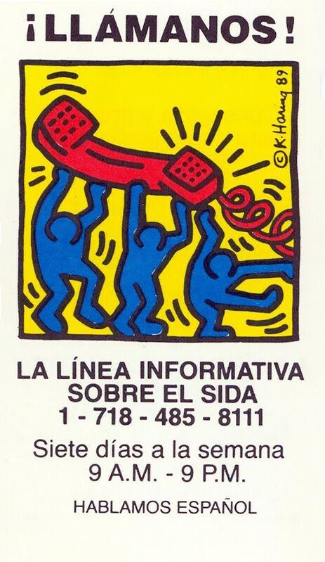 Keith Haring, 'Keith Haring Talk To Us! 1989 (Keith Haring Aids hotline)', 1989, Ephemera or Merchandise, Offset printed business card, Lot 180