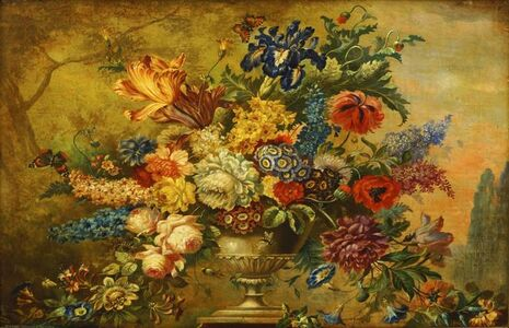 Victor Wrigglesworth, 'Flowers in an urn on a ledge'