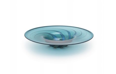 OWE THORSEN, 'A plate 'piume' in blue glass and stains in lattimo glass', circa 1985