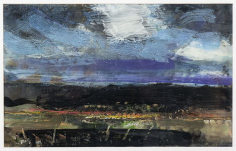Simon Andrew, 'Evening Storm - encaustic landscape with a white, twilight blue and violet sky', 2017