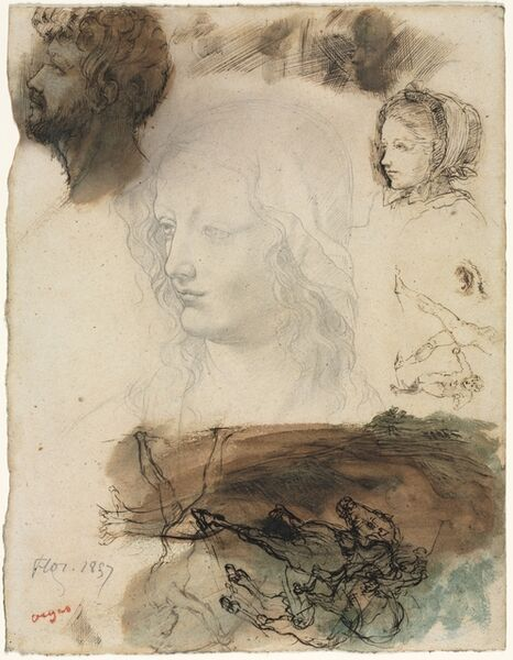 Edgar Degas, 'Sheet of Studies and Sketches', 1858