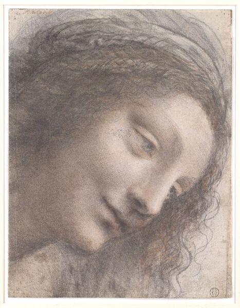 Leonardo da Vinci, 'The Head of the Virgin in Three-Quarter View Facing Right', 1510–1513