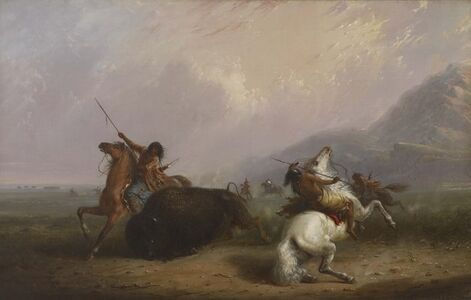 Alfred Jacob Miller, 'Buffalo Hunt with Lances', 1858