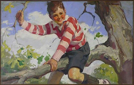 Haddon Sundblom, 'Boy in Striped Sweater Sits on a Tree Branch, Advertisement, Cream of Wheat', 1929