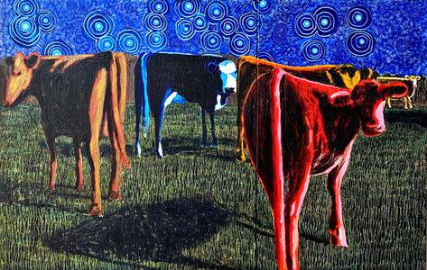 John Borden Evans, 'Five Heifers at Night (Diptych)', 2020
