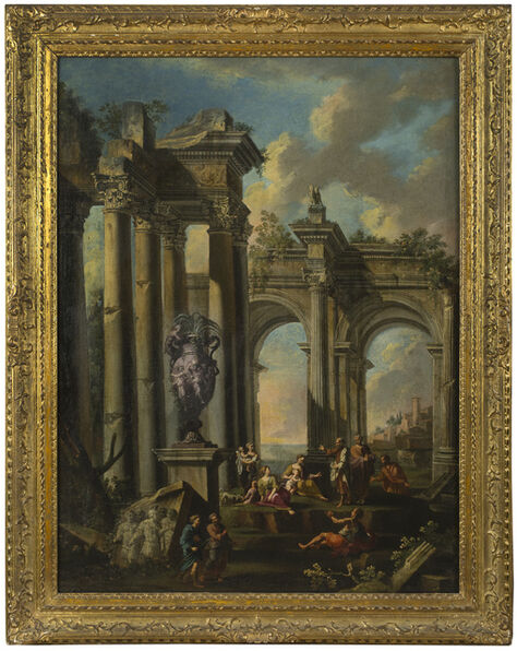Giovanni Paolo Panini, 'An Architectural Capriccio with the Preaching of an Apostle', 1711-1712