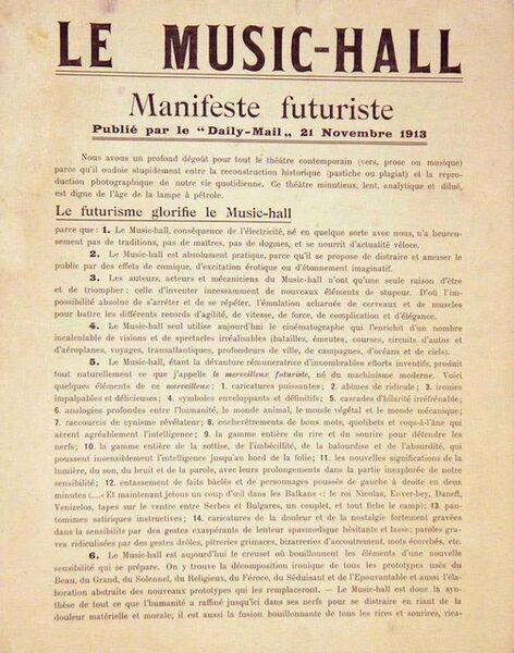 Filippo Tommaso Marinetti, 'Le Music-Hall ', 1913
