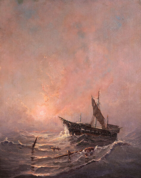Edward Moran, 'Ship amongst wreckage near New Castle Harbor', 1829-1901