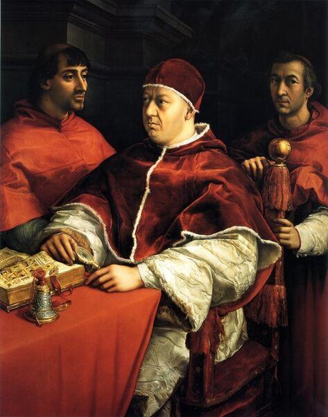 Raphael, 'Pope Leo X with Cardinals Giulio de' Medici and Luigi de' Rossi', ca. 1517