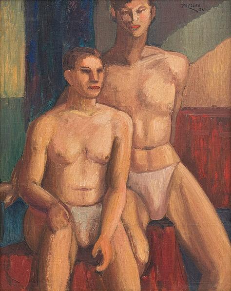Alexis Preller, 'Two Male Nudes'