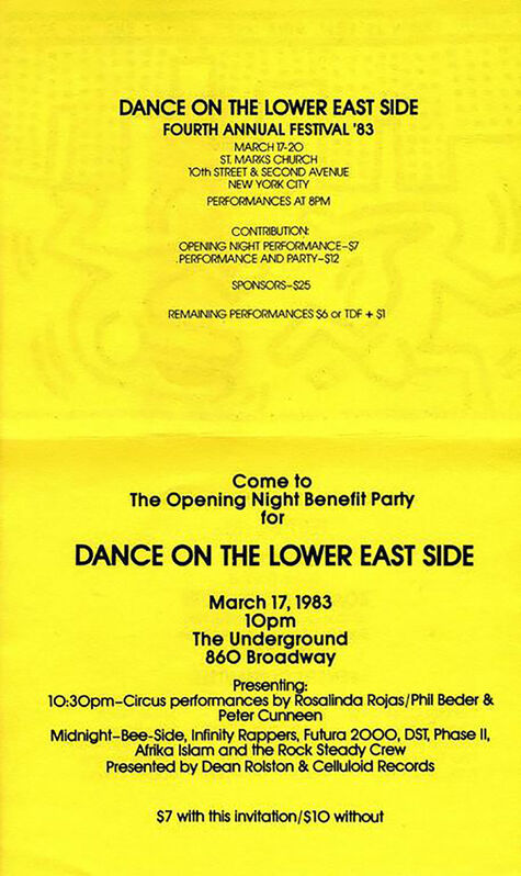Keith Haring, 'Keith Haring Dance on the Lower East Side, St. Marks Church ', 1983, Posters, Offset print, Lot 180