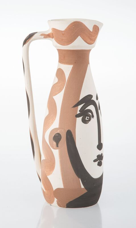 Pablo Picasso, 'Visage', 1955, Design/Decorative Art, Partially glaze white earthenware ceramic pitcher, painted in black and sepia, Heritage Auctions