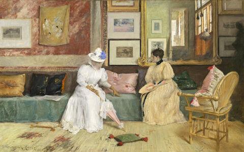 William Merritt Chase, 'A Friendly Call', 1895