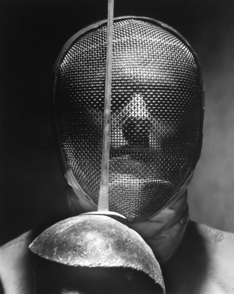 Andreas Feininger, 'Fencer with saber mask', 1955