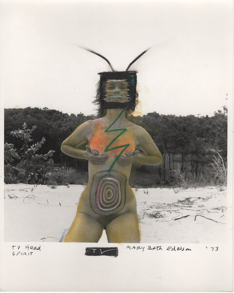 Mary Beth Edelson, 'TV Head Spirit (Woman Rising series)', 1973