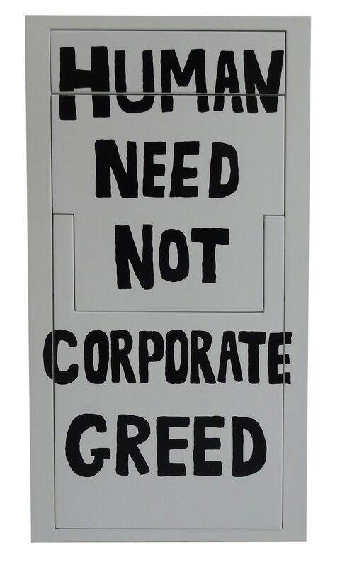 Sebastian Errazuriz, 'Human need not corporate greed (Protest Chair)', 2013, Sculpture, Acrylic and enamel on plywood, BAM (Brooklyn Academy of Music) Benefit Auction