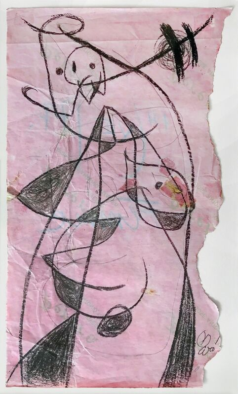 Joan Miró, 'Femme, 1977', 1977, Drawing, Collage or other Work on Paper, Wax crayon on pink paper, Omer Tiroche Gallery
