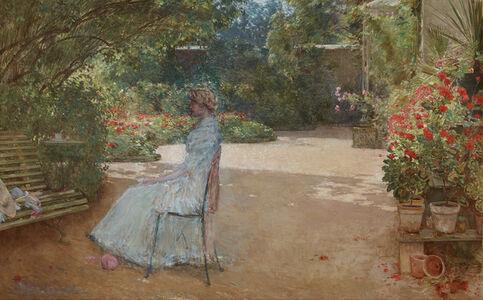 Childe Hassam, 'The Artist's Wife in a Garden, Villiers-le-Bel', 1889