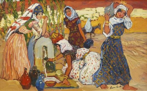Leon Luret, 'Algerian water carriers at a well'