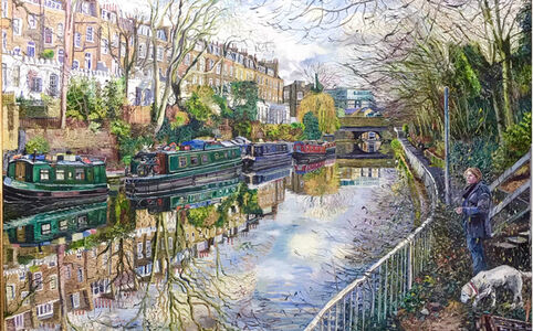 Melissa Scott-Miller, 'Regents Canal at Isington, the Artist, Her Dog and a Box of Paint', 2013