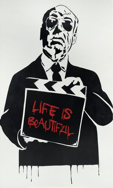 Mr. Brainwash, 'Alfred Hitchcock (aka Life is Beautiful) ', 2009, Print, Screen Print on Archival Paper, signed, The Untitled Space