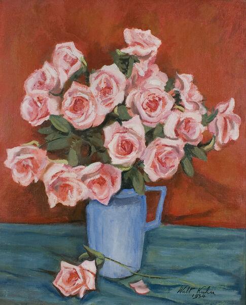 Walt Kuhn, 'Pink Roses in Blue Pitcher', 1934