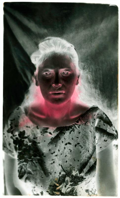 Milagros de la Torre, 'Under the black sun (Lady)', 1991-1993 (Vintage print), Photography, Hand-painted toned gelatin silver print, mercurochrome, ROLF ART