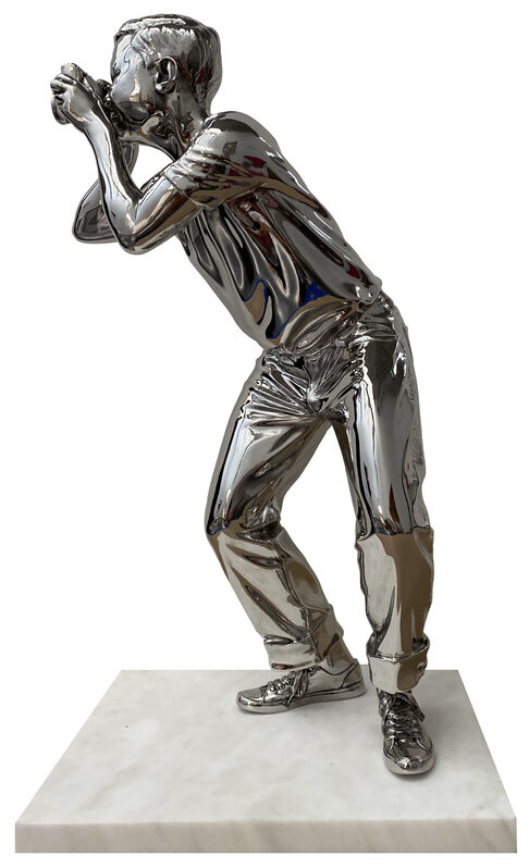 Mr. Brainwash, 'Smile - Stainless Steel', 2020, Sculpture, Polished Stainless Steel on Marble Base, Deodato Arte