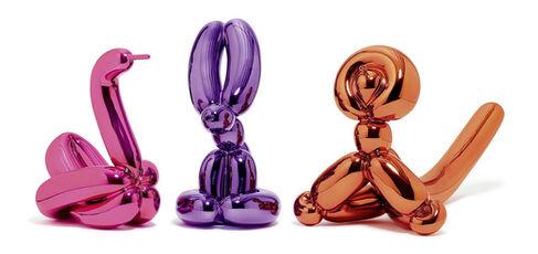 Animals - Balloon Rabbit (Violet), Balloon Monkey (Orange), Balloon Swan (Magenta