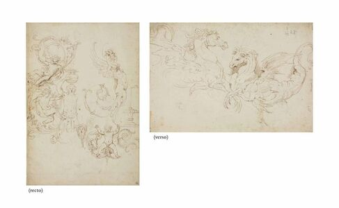 Girolamo da Carpi, 'Studies of grotesques (recto), studies of two winged horses (verso)'