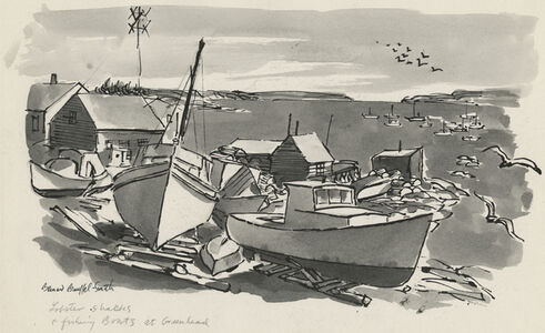 Bernard Brussel-Smith, 'Lobster Shacks and Fishing Boats at Greenhead [Maine]', ca. 1954