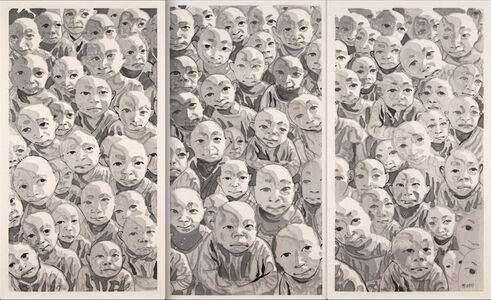 Fang Lijun 方力钧, 'Untitled (Crowd Triptych)', 2009