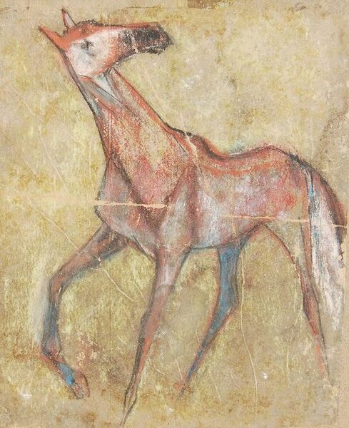 "Sunil Das, 'Horse I, Pastel on Sand Paper by Padma Shree Artist Sunil Das ""In Stock""', 1950"