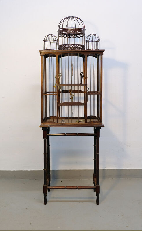 Artemis Potamianou, 'Which side are you on? Keys', 2018, Sculpture, Wood and metal birdcage and appropriated object(s), IFAC Arts