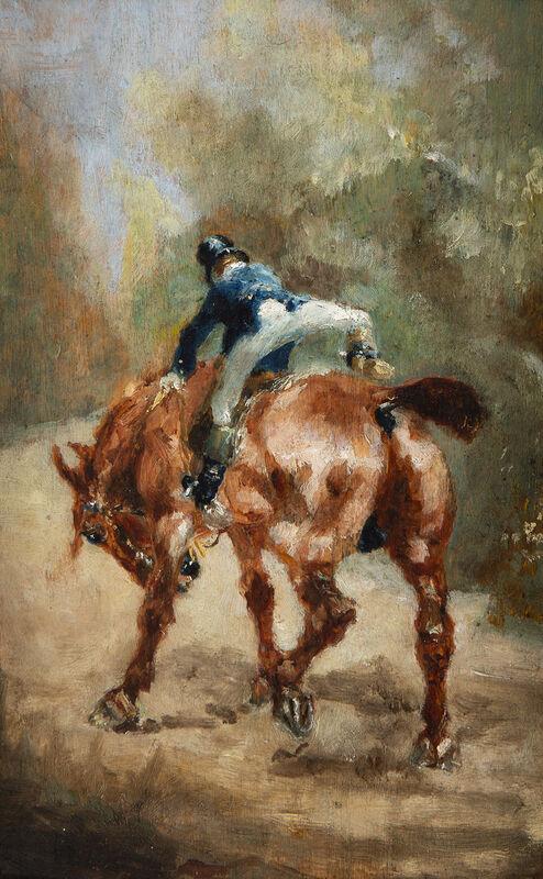 Henri de Toulouse-Lautrec, 'Cavalier vu de dos', 1880, Painting, Oil on panel, BAILLY GALLERY