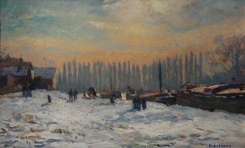 Albert Lebourg, 'Bords de Seine, Péniches à Quai'