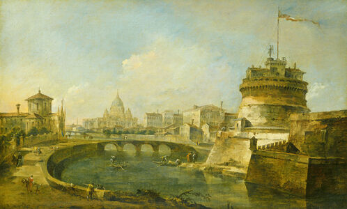 Francesco Guardi, 'Fanciful View of the Castel Sant'Angelo, Rome', ca. 1785
