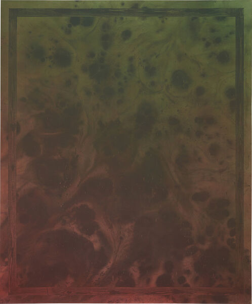 Sayre Gomez, 'Untitled Painting in Red Over Green w/ Painted Faux Wood Grain Frame', 2014
