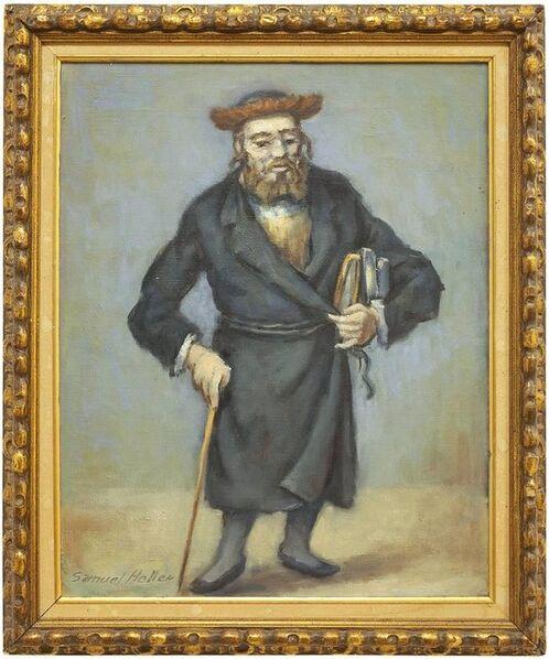 Samuel Halpert, 'Rare Judaica Rabbi Oil Painting (JEWISH MAN HOLDING A CANE AND BOOKS)', 20th Century