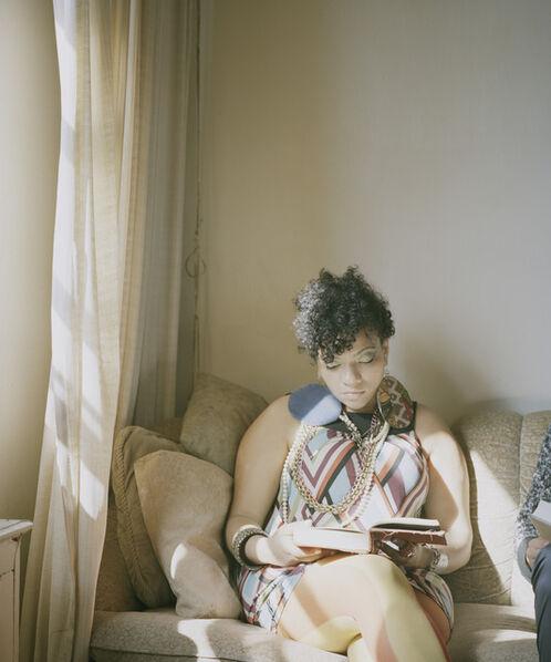 Carrie Schneider, 'Abigail reading Angela Davis (An Autobiography, 1974)', 2014