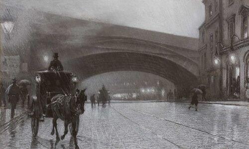 Edward Henry Potthast, 'High Grade Crossings, South West Railway Over Westminster Bridge Road - East Face'