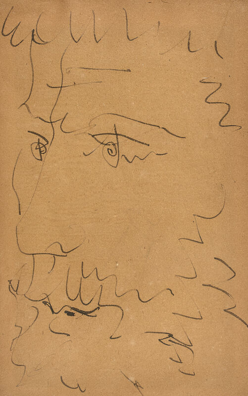 Pablo Picasso, 'Tête d'homme barbu - Nu assis (au dos)', 1881-1973, Drawing, Collage or other Work on Paper, Feather pen on duplexed book page, BAILLY GALLERY